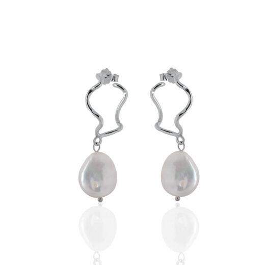 Ασημένια Σκουλαρίκια Pearl PS-EASI041 Silver