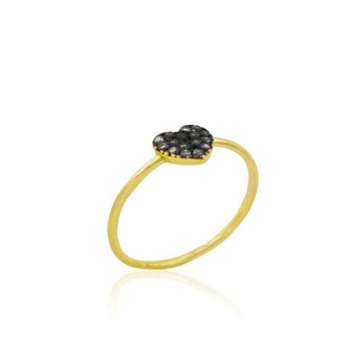 Γυναικείο Δαχτυλίδι Black Heart Gold